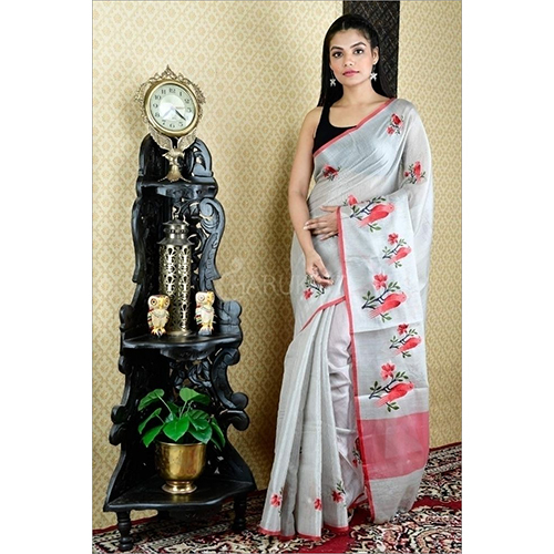 Tissue Linen Computerized Embroidery Work  Sarees