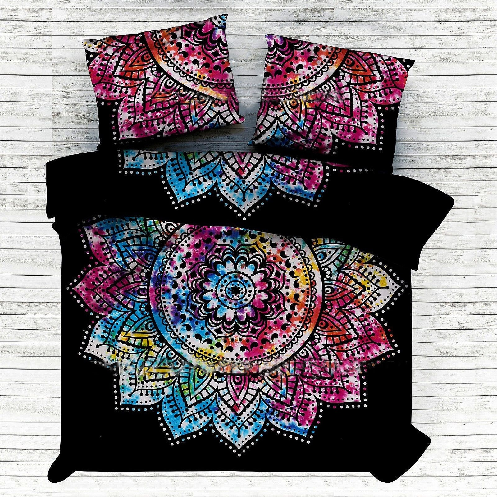 Indian Mandala Cotton Black Big Flower Duvet Cover