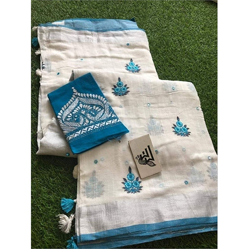 Linen Embroidery with Mirrorwork Sarees