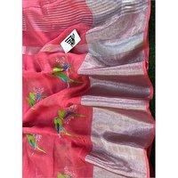 Designer Embroidery Linen Jute Saree
