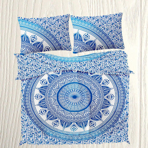 Indian Mandala Cotton Blue Round Flower Duvet Cover