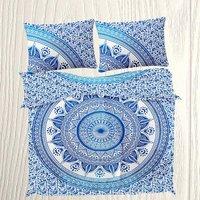 Indian Mandala Cotton Blue Round Flower Duvet Cover
