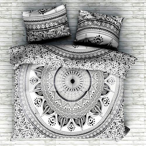 Indian Mandala Black Round Flower Cotton Duvet Cover