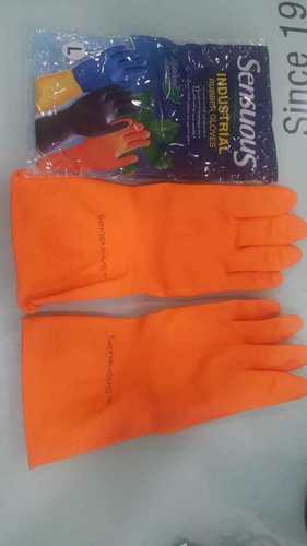 orange industrial rubbber hand  gloves