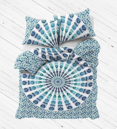Indian Mandala Cotten Blue Round Duvet Cover