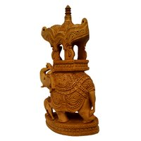 20cm Wooden Elephant Ambabary with Lion Carving Decorative Showpiece