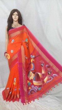 Khadi Cotton Batik Printed Sarees