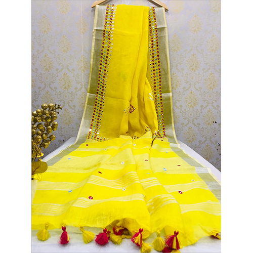Linen Mirrorwork Sarees