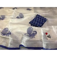Linen Bird Embroidery Work Sarees