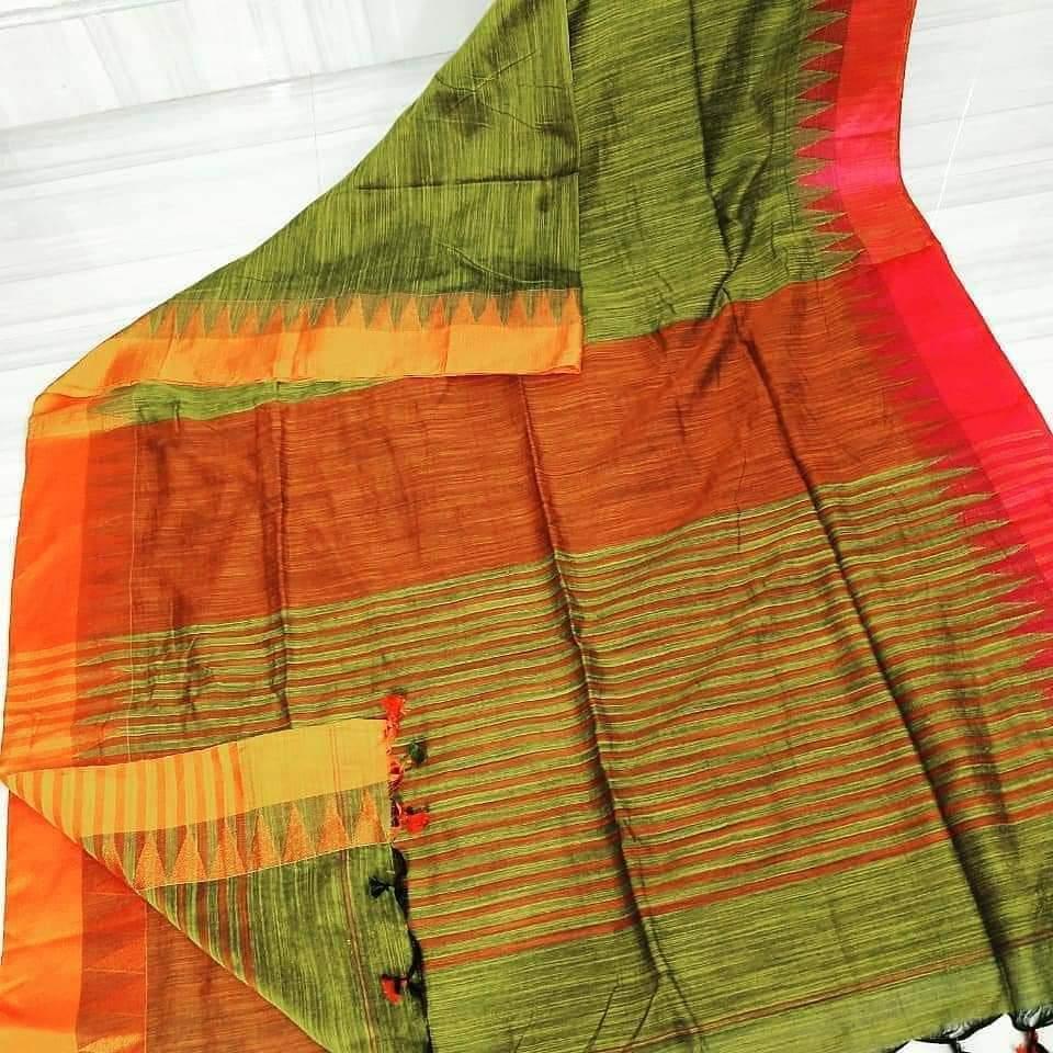 Khadi Cotton Templework Sarees