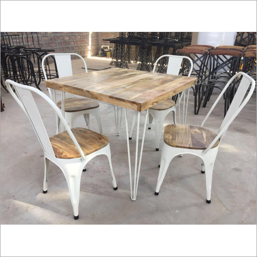 Iron Wooden Top Dining Table Set
