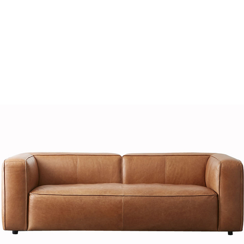 Three Seater Cushion Leather Sofa
