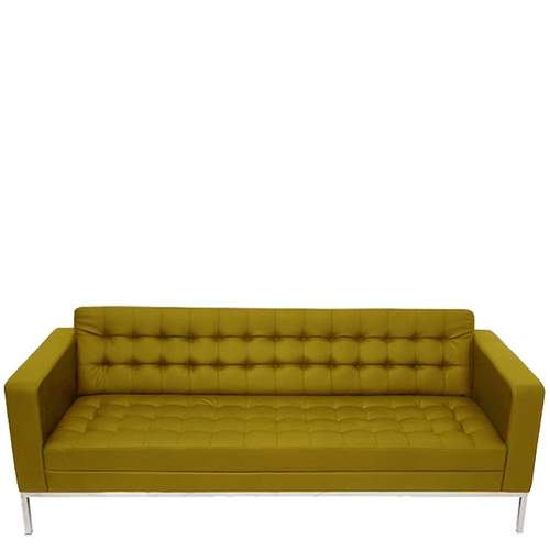 Leather Three Seater Cushion Sofa