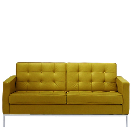 Leather Two Seater Cushion Sofa