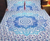 Indian Mandala Cotton Blue Flower Duvet Cover
