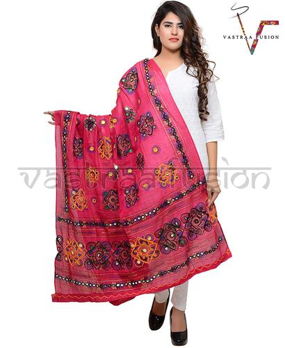Ladies Cotton Embroidered Chakachak Aari Kutch Dupatta