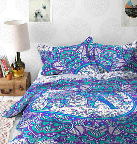 Indian Mandala Cotton Flower Purple Elephant Duvet Cover