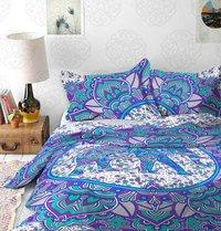 Indian Mandala Cotton Flower Purple Elephant Duvet Cover