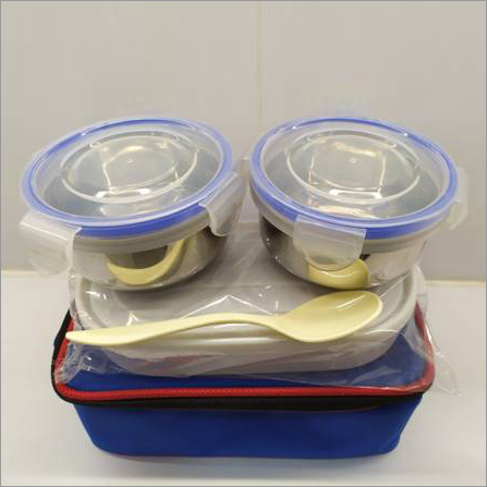 Easy Lock 2 Small Lock Tight Steel Container With 1 Chapati Box Lunch Box In Soft Carrier Bag