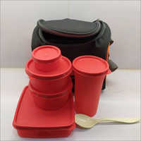 Eat Fresh 4 Air Tight Containers With 1 Lassi Glass And Spoon Lunch Box In Soft Carrier Bag