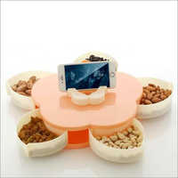 Flower Shape 5 Sections Dry Fruit Box With Mobile Stand