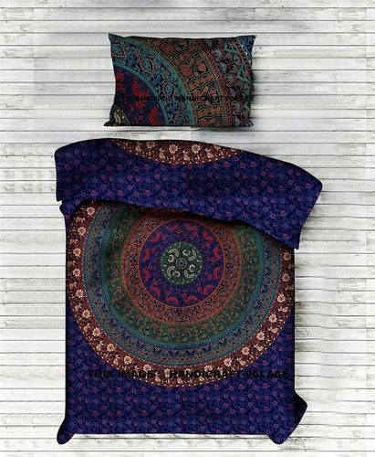 Indian Mandala Cotton Dark Blue Circle Duvet Cover