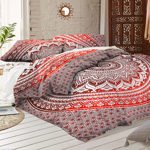 Indian Mandala Cotton Red Circle Duvet Cover