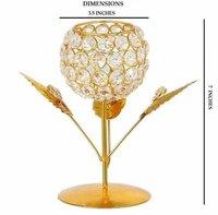 Floral Golden Crystal tea light holder