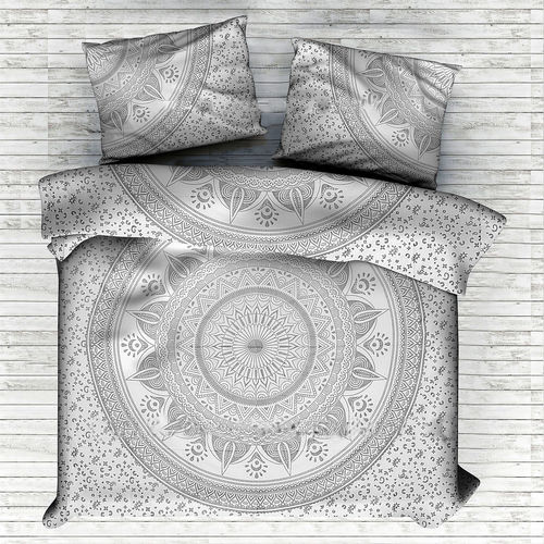 Indian Mandala Cotton Silver Round Flower Duvet Cover