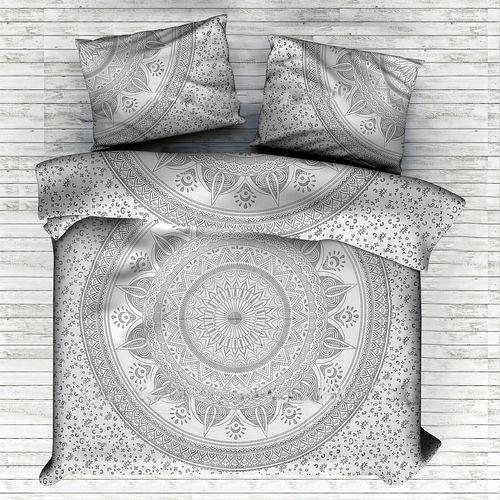 Indian Mandala Cotton Silver Round Flower Duvet Cover