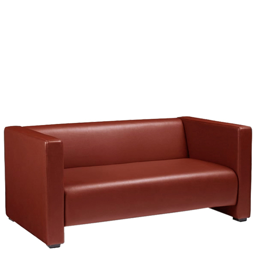 Reception Two Seater Leather Cushion Sofa