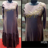 Round Neck Fine Embroidered Kurti