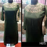Round Neck Embroidered Kurti