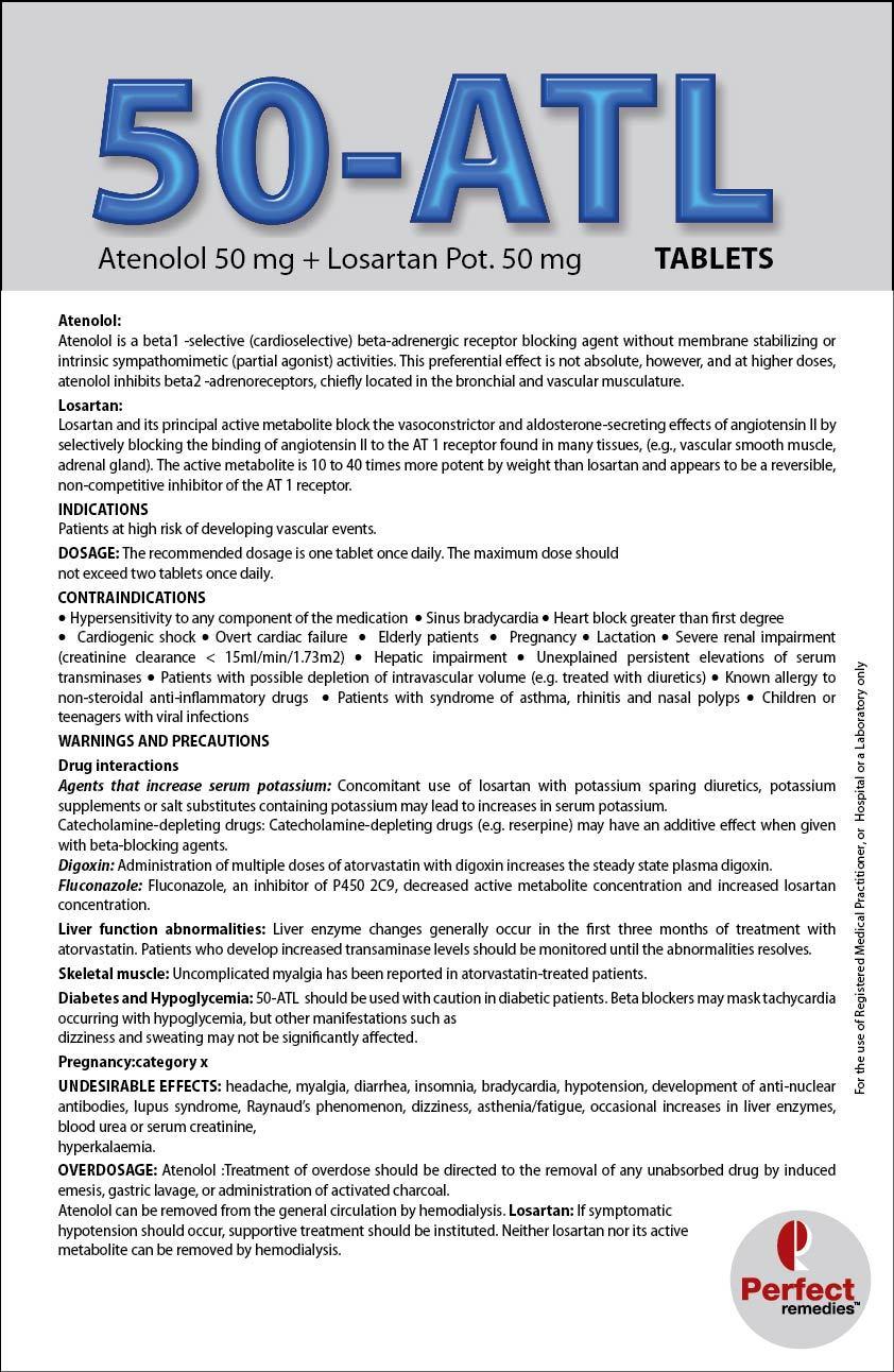 Atenolol 50 mg & Losartan Potassium 50 mg