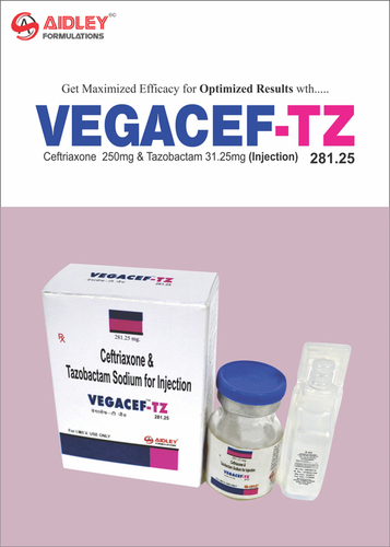 Ceftriaxone 250mg +Tazobactam 31.25mg Injection