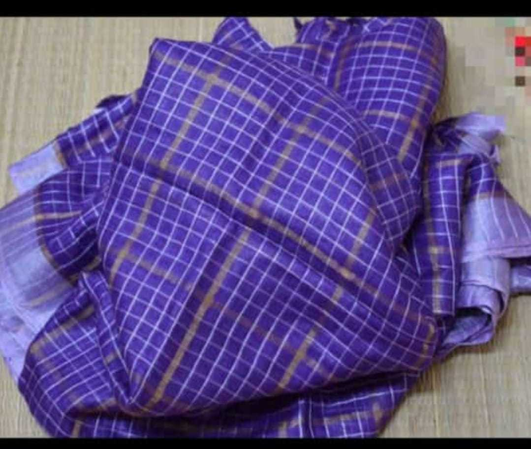 Linen Check Zari Sarees