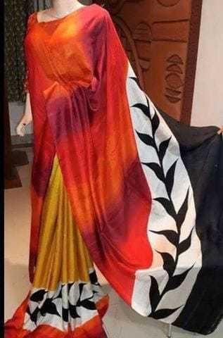 Block Printed Tussar Silk Sarees