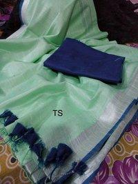 Cotton linen zari border sarees