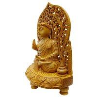 Apnoghar Had Mad Wooden Buddha Back Jali Stetu Idol Home Decor 20cm