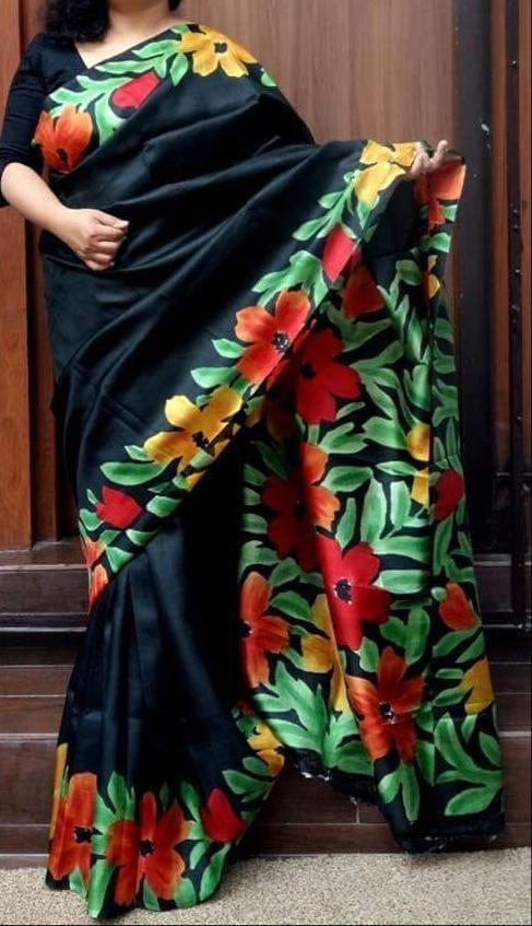 Murshidabad Silk Hand Painted Sarees