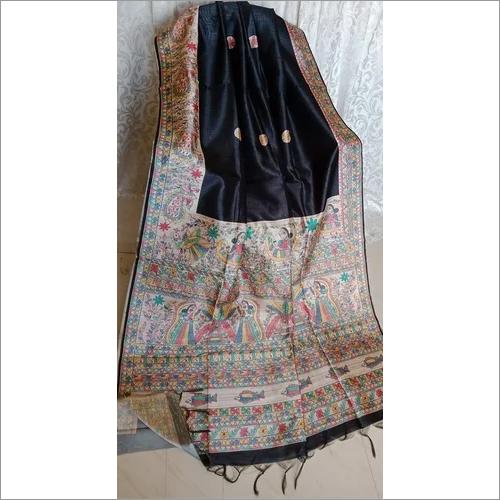 Tussar Gicha Hand Painted Kalamkari Sarees