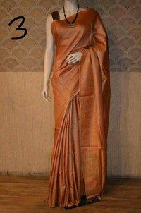 Plain Tussar Silk Sarees