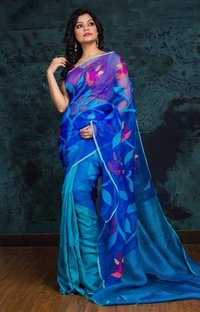 Matka Silk All Over Floral Jamdani Sarees.