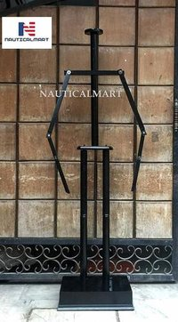 Nautical-Mart Medieval Full Suit of Armor Wooden Display Stand (Black)