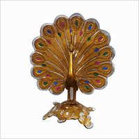 Golden Metal Peacock Statue