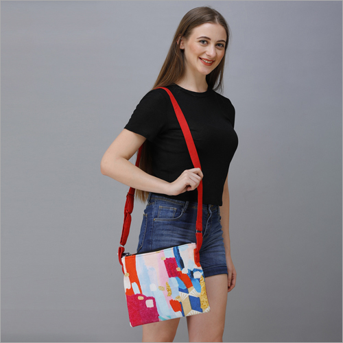 Printed Cotton Canvas Sling Bag