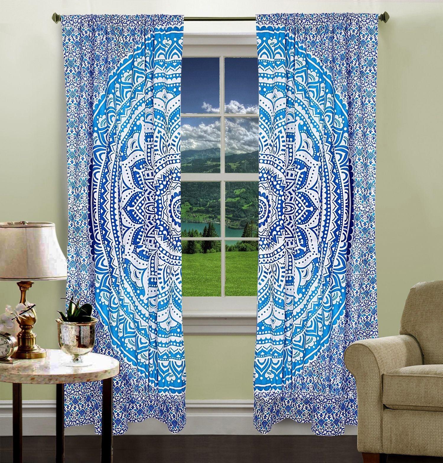 Indian Mandala Ombre Hippie Bohemian Curtain