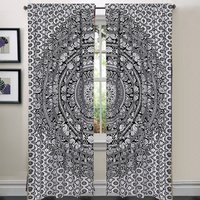 Indian Mandala Ombre Black And White Elephant Hippie Bohemian Curtain