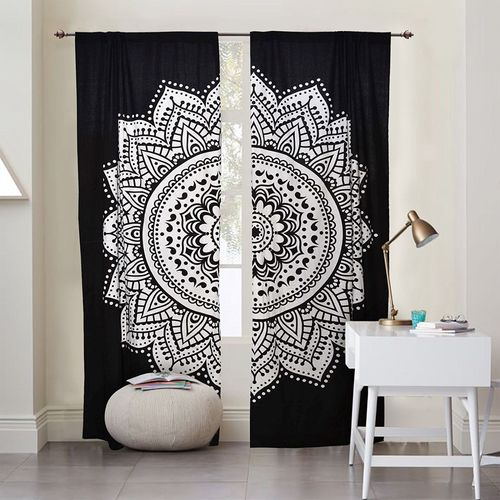 Indian Mandala Black And White Flower Ombre Hippie Bohemian Curtain