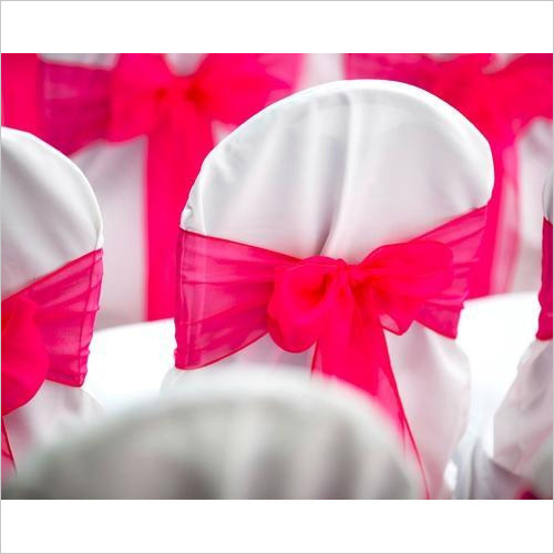 White And Pink Chair Cover Bow